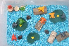 Montessori-Inspired Pond Unit (Any frog activities would work for Leap Year.) Photo from http://jadaroo.blogspot.com/2011/03/end-of-march-first-of-april-sensory-bin.html. Post with roundup of frog activities at http://livingmontessorinow.com/2011/07/14/montessori-inspired-pond-unit/