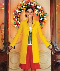 Christmas with JCrew. Yellow lady day coat.