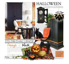 """""""Color Challenge: Orange and Black"""" by thewondersoffashion ❤ liked on Polyvore featuring interior, interiors, interior design, home, home decor, interior decorating, Core Home, Bethany Lowe, Marset and interiordesign"""