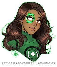 "sammiegscribbles: "" Jessica Cruz - Green Lantern warmup from patreon. Patreon ✩ Twitter ✩ Commissions """