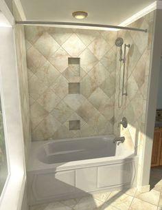 Cozy small bathroom shower with tub tile design ideas Bathroom Tub Shower, Small Bathroom With Shower, Bath Tub, Bathroom Tiling, Shower Niche, Hall Bathroom, Basement Bathroom, Bathroom Storage, Modern Bathroom