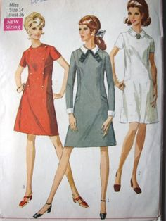 60s Dress Pattern A Line with Side Front Panels, Size 14 Bust 36