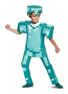 Minecraft Halloween costume ideas are all over the place if you care to look around. You will see Minecraft creeper Halloween Costumes and Minecraft Steve Halloween Costumes. You will also find all sorts of crafty Kids Minecraft Halloween Costume accessories to make for a perfect Minecraft Inspired Halloween 2017 Armor Deluxe Minecraft Costume, Blue, Large (10-12)