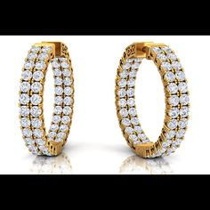 #nofilter #earrings #yellowgold #diamonds #round #custom #hers #bestgift #luxury #gold #fancy #fashion #jewelry #womens #hoops #brilliance #bling #elegant #chic