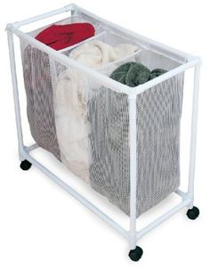 DH could make this to the size I need - pvc pipe Pvc Pipe Crafts, Pvc Pipe Projects, Diy And Crafts, Pvc Furniture, Repurposed Furniture, Pvc Shoe Racks, Laundry Hamper, Laundry Sorter, Home Organization