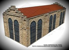 Old Warehouse Paper Model In Several Scales - by Edifícios De Papel - == -  This is the Old Warehouse paper model, created by Spanish designers Mónica and Anibal, from Edifícios de Papel website. This model is available in 6 different scales: 1/56 scale(28mm), 1/72 scale, HO scale (1/87), 1/100 scale (15mm), N scale (1/160) and Z scale (1/220). Perfect for Dioramas, Train Sets, RPG and Wargames!