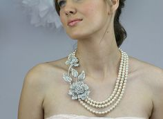 Bridal Flower Necklace, Vintage Inspired Pearl and Crystal Wedding Statement Necklace