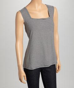 Another great find on #zulily! Jet Black & White Square Neck Sleeveless Top by SPANNER, $22 !!  #zulilyfinds