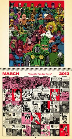 March 2013 Retro Marvel Calender............. by *dusty-abell on deviantART