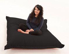 RAVIOLI GIANT - BLACK Bean Bag Chair Indoor / Outdoor Beanbag Floor Cushion