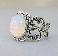 Opal Rings, Opal Jewelry,Ring, White Glass Opal Ring, Silver Opal Jewelry, Antique Silver Opal Ring