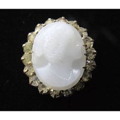 Vintage Antique Victorian White Milk Glass Cameo Pin Brooch