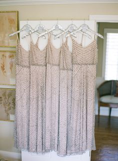 Champagne beaded #bridesmaidsdresses from Adrianna Papell