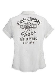 a992122dd0cb67 Harley-Davidson® Women s Bar And Shield Logo Short Sleeve Woven Shirt