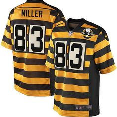 84a68b5e8 Men s Nike Pittsburgh Steelers  83 Heath Miller Elite Yellow Black  Alternate 80TH Anniversary Throwback Jersey