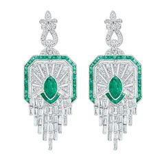 Natural Emerald and Diamond Cascade Earrings
