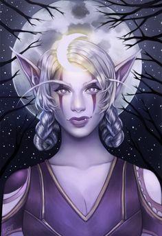Fantasy Portraits, Character Portraits, Character Art, Character Design, World Of Warcraft Characters, Fantasy Characters, Female Elf, Warcraft Art, Night Elf