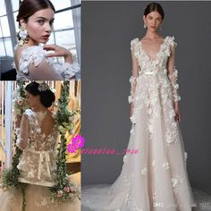 Marchesa 2017 Modern 3D Floral Wedding Dresses with Long Sleeves Cute Handmade Flower Sheer V-neck Backless Princess Garden Bridal Gowns A-Line Wedding Dresses Bridal Gowns Bride Ball Gown Online with $262.86/Piece on Xiaoxiao_2017's Store | DHgate.com