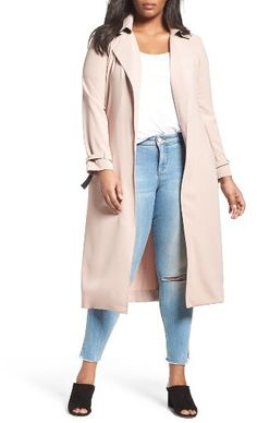 Plus Size Long Trench Coat