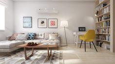 Скандинавский дизайн интерьера квартиры 60 кв. м.