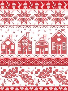 Scandinavian and Norwegian Christmas folk inspired festive autumn and winter  seamless pattern in cross stitch with acorn, oak leaf, gingerbread house, snow snowflakes and ornaments in red and white royalty-free stock vector art