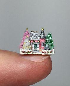 OOAK Miniature Victorian Dollhouse Christmas Putz House Glitter Holly Allen    eBay