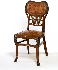 Chair / ca. 1900 / A. Darras (designer and maker) / France / Carved and painted walnut, upholstered with leather (a reproduction of the original)