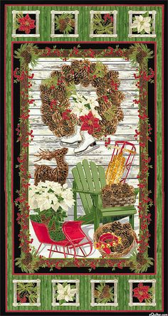 "Country Christmas - Rustic Decorations - 24"" x 44"" PANEL"