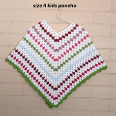 Granny square, poncho, kids clothes, knitted poncho, kid's clothing, crochet top, kidswear, childrens clothes, sweater, baby girl poncho by CreatedForYouAndMe on Etsy