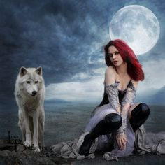 Kindred Spirits by FairieGoodMother ~ Lisa ~ http://fairiegoodmother.deviantart.com/ ♥ Wolf, Moon, Redhead... doesn't get any better than this trio!