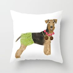 Airedale Terrier Hula Dog - tropical airedale terrier cute funny dog gift
