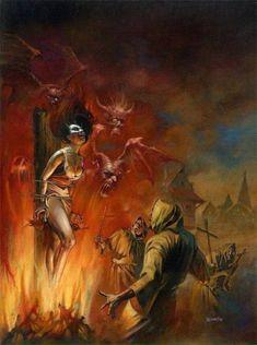 Weird Tales Of The Macabre magazine cover by Boris Vallejo, in Brian E's Horror Original Illustration Comic Art Gallery Room Boris Vallejo, Arte Horror, Horror Art, Dark Fantasy Art, Fantasy Artwork, Bell Art, Satanic Art, Dark Artwork, Sword And Sorcery