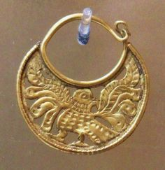 GOLD CRESCENT Crescent-shaped gold open-work earring depicting a bird. Byzantine Empire, 6th-7th C. AD. Athens, Byzantine and Christian Museum