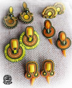 Yellow earrings Silk Bangles, Fabric Necklace, Yellow Earrings, Soutache Earrings, Earring Tutorial, Jewelry Making Tutorials, Colorful Bracelets, Colorful Fashion, Beaded Embroidery
