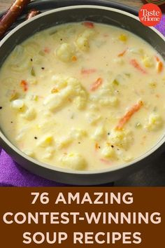 Treat yourself to a warm and comforting meal that is guaranteed delicious with one of our contest-winning soup recipes. Cheesy Recipes, Easy Soup Recipes, Crockpot Recipes, Vegetarian Recipes, Cooking Recipes, Healthy Recipes, Keto Recipes, Dinner Recipes, Low Carb Soup Recipes