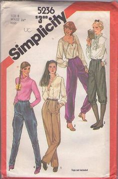 Simplicity 5236 Vintage 80's Sewing Pattern KILLER New Wave Pants Set, Banded Leg Harem, Knickers, Trousers, Equestrian Look Jodhpurs Size 8