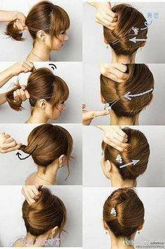 For Thick Hair (Hair and Beauty Tutorials) Bun Hairstyles, Trendy Hairstyles, Wedding Hairstyles, Updo Hairstyle, Winter Hairstyles, Hairstyle Ideas, Nurse Hairstyles, Fashion Hairstyles, Long Haircuts