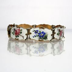 Vintage Sterling Silver Bracelet With Enamel Flower Links Signed With The…