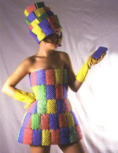 Sponge Dress.  Weird dress created from regular kitchen sponges by Kate Cusack.