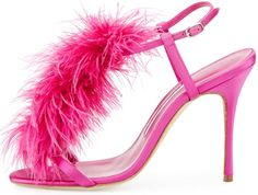 Manolo Blahnik 'Elia' Feather T-Strap 105mm Sandals