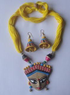 Textile Jewelry, Fabric Jewelry, Fashion Jewelry Necklaces, Jewelry Art, Durga Painting, Buddha Painting, Painting Canvas, Terracotta Jewellery Making, Teracotta Jewellery