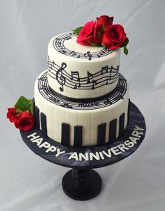 Music Birthday Cakes, 2 Tier Birthday Cakes, Music Themed Cakes, Music Cakes, Music Themed Parties, Pretty Cakes, Cute Cakes, Bolo Musical, Music Note Cake