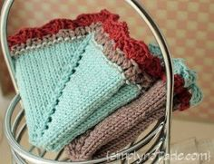 So pretty--too pretty for me to want to blow my nose in it lol. I'd use it for something else. I love the two-color edging/ruffle. --Pia (Free Vintage Hankie Washcloth Knitting Pattern
