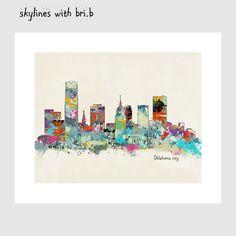 oklahoma city skyline .colorful modern pop art by oxleystudio