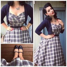 Miss Victory Violet - good pinup fashion blog. I actually have this plaid dress in the closet and I love it. I love her style and the shape of the silhouette. Also the cardigan.