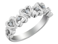 Diamond Heart Promise Ring in Sterling Silver