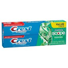 Crest Complete Whitening plus Scope Multi-Benefit Fluoride Toothpaste, Minty Fresh, Oz Crest Whitening, Teeth Whitening, Flavored Toothpaste, Toothpaste Brands, Benefit, Personal Hygiene, Personal Care, Bad Breath, Health Facts
