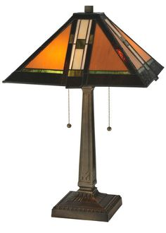 "Meyda Tiffany 119654 22"" H Montana Mission Table Lamp Green Beige Lamps Table Lamps"
