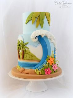 Summer Holiday in Hawaii Cake - Sweet Summer Collaboration by CakeHeaven by Marlene: (Cake Design) Luau Cakes, Beach Cakes, Hawaiian Theme Cakes, Hawaii Cake, Hawaii Hawaii, Maui, Surf Cake, Summer Cakes, Holiday Cakes
