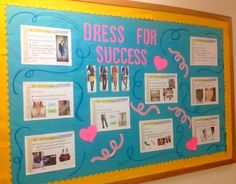 """Dress for Success"" Board includes helpful tips for interview attire! I made this one for my residents at #UMD! Resident Assistant Bulletin Boards"